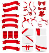 Red Ribbon and Bow Set. Vector illustration - stock illustration