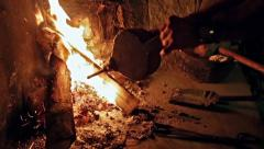 Fireplace with embers. - stock footage