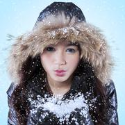 Teenage girl blowing frost snow - stock photo