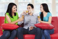 Teenager hangout and drinking champagne Stock Photos
