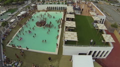 A view of a pool party to the Sporting Marina at the touristic port of Lavagna Stock Footage