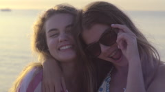 Teens Smiling/Posing/Making Faces And Peace Signs For Portrait On Beach Stock Footage
