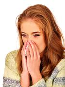 Women's tears. The reasons may be different. Colds, allergies or depression Stock Photos