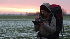 Woman Tourist Map Tablet Navigator Cold - stock footage