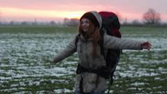 Woman Traveler Happy Smiling - stock footage