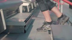 Feet Closeup Running Up Bleachers Slow Motion - stock footage