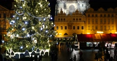 PRAGUE, 29 NOVEMBER 2015 - Old Town Square at Christmas time, Prague, Czech Stock Footage