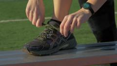 Athlete Tying Sneaker Lace Close Up Stock Footage