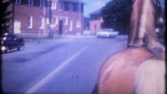 2855 - riding in open carraige pulled by horse - vintage film home movie Stock Footage