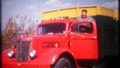 2856 - truck driver takes a break from the road trip - vintage film home movie Stock Footage