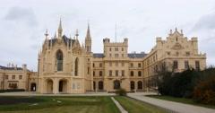 View of Lednice Castle in Czech Republic Stock Footage