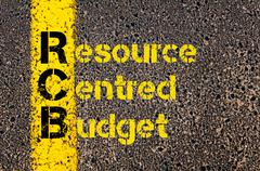 Accounting Business Acronym RCB Resource Centred Budget - stock photo