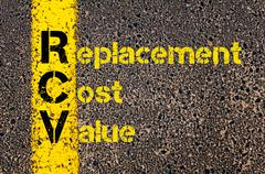 Accounting Business Acronym RCV Replacement Cost Value - stock photo