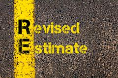 Accounting Business Acronym RE Revised Estimate - stock photo