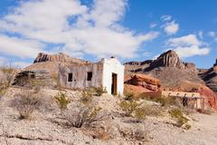 Desert landscape with historic adobe buildings Stock Photos