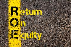Stock Photo of Accounting Business Acronym ROE Return On Equity
