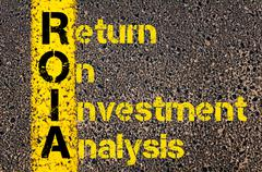 Accounting Business Acronym ROIA Return On Investment Analysis Stock Photos