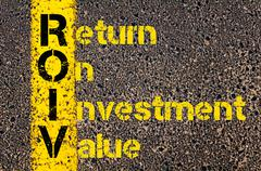 Accounting Business Acronym ROIV Return On Investment Value - stock photo
