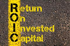 Accounting Business Acronym ROIC Return On Invested Capital - stock photo