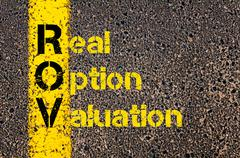 Stock Photo of Accounting Business Acronym ROV Real Option Valuation