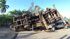 Crane Truck Overturned on Tanker Truck Stock Footage