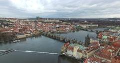 Aerial view of Prague, Czech Republic Stock Footage
