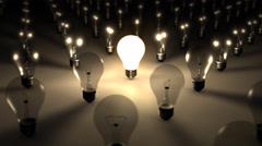 3D SEAMLESS LOOP Single Illuminated Lightbulb - stock footage