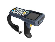Handheld laser barcode scanner reader. Isolated over white background Stock Photos