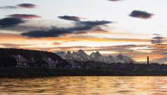 Spectacular Sunset in Ushuaia (4K) Stock Footage