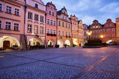 Jelenia Gora Old Town Square at Dusk in Poland - stock photo