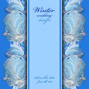 Stock Illustration of Winter frozen glass design background. Text place.