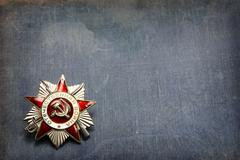 Order of the Patriotic War on a blue background - stock photo
