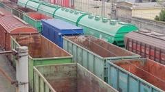 Cargo train moves on railway. Railway cargo Stock Footage