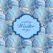Blue centre label design. Winter frozen glass background. Text place. - stock illustration
