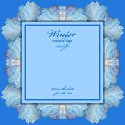 Wedding frame with winter frozen glass design. Text place. - stock illustration