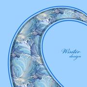Blue curl design. Winter frozen glass background. Text place. - stock illustration