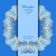 Stock Illustration of Wedding wreath frame design. Winter frozen glass background. Text place.