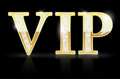 Shiny golden VIP sign with diamonds Stock Illustration