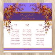 Table guest list. Autumn wild grape background. Wedding design template. - stock illustration