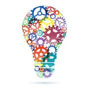 Abstract lightbulb from gears Stock Illustration