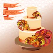 Wedding cake with peacock feathers. Golden yellow design. Stock Illustration