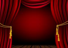 Red curtain - place for your object or text - stock illustration