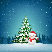 The Christmas snowman and spruce Stock Illustration