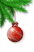 Red Christmas bulb hanging on spruce twig Stock Illustration