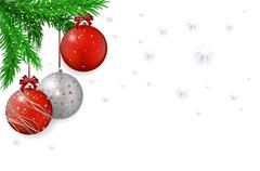 Christmas background with red balls and spruce Stock Illustration