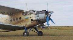 Antonov An-2R taxiing to the runway Stock Footage