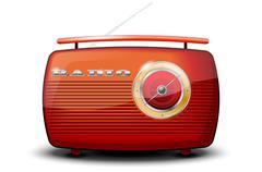 Red vintage radio on white background - stock illustration