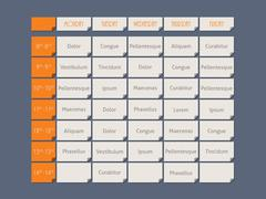 Orange timetable flat style with sample text - stock illustration