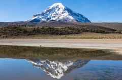 Sajama volcano and lake Huayñacota. Andean Bolivia Stock Photos