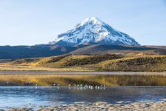 Sajama volcano and lake Huayñacota. Andean Bolivia - stock photo